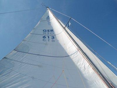 Die Sonnenkollektoren arbeiten, der Windgenerator arbeitet, die Segel arbeiten, die Windfahnensteueranlage arbeitet - nur einer tut gar nichts - von Ruhnu zurück nach Mersrags